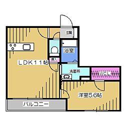 La・Vita Nakamozu 1階1LDKの間取り
