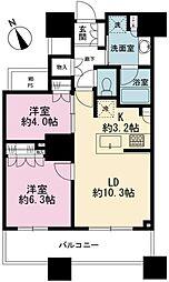 ザ・パークハウス西新宿タワー60 35階2LDKの間取り