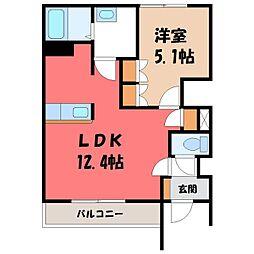 茨城県筑西市幸町3の賃貸アパートの間取り