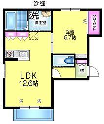 JR総武線 亀戸駅 徒歩14分の賃貸マンション 2階1LDKの間取り