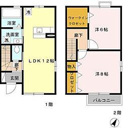 つくばエクスプレス 八潮駅 徒歩26分の賃貸テラスハウス 1階2LDKの間取り