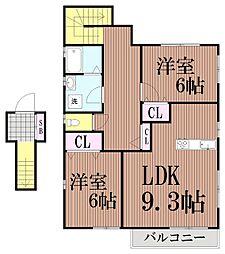 東京都大田区山王1丁目の賃貸アパートの間取り