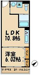 多摩都市モノレール 甲州街道駅 徒歩4分の賃貸アパート 2階1LDKの間取り