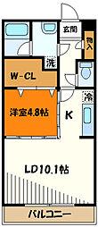 京王高尾線 狭間駅 徒歩9分の賃貸マンション 2階1LDKの間取り