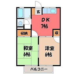 コーポサツキ A[2階]の間取り