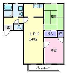 大阪府松原市丹南4丁目の賃貸アパートの間取り