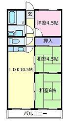 羽曳野ネオハイツ[2階]の間取り