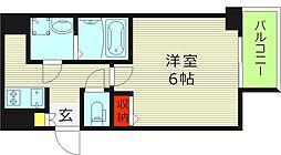 エスリード京橋セントラル 14階1Kの間取り
