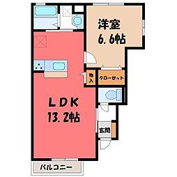 栃木県宇都宮市清原台5丁目の賃貸アパートの間取り