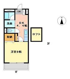 プラムワン[1階]の間取り