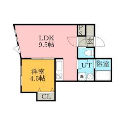 札幌市営東西線 菊水駅 徒歩4分の賃貸アパート 3階1LDKの間取り