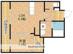 ル・リオン東三方 2階1LDKの間取り