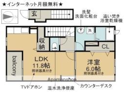 JR中央本線 勝川駅 徒歩20分の賃貸アパート 2階1LDKの間取り