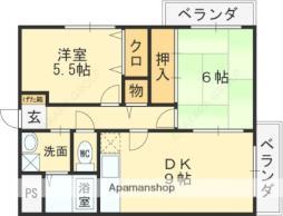 近鉄南大阪線 河内松原駅 徒歩27分の賃貸マンション 4階2DKの間取り