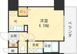 JR大阪環状線 京橋駅 徒歩6分の賃貸マンション 4階ワンルームの間取り