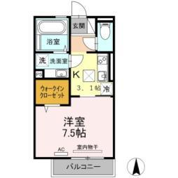熊本市電B系統 新町駅 徒歩8分の賃貸アパート 1階1Kの間取り