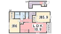 兵庫県高砂市米田町島の賃貸アパートの間取り