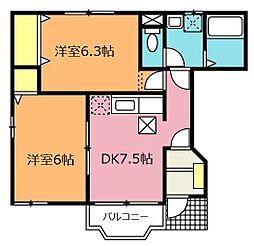 埼玉県北本市西高尾4の賃貸アパートの間取り