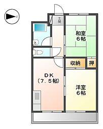 愛知県稲沢市高御堂1丁目の賃貸マンションの間取り