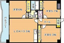 福岡県北九州市八幡西区樋口町の賃貸マンションの間取り