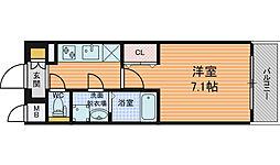 レジュールアッシュ梅田LUXE 3階1Kの間取り