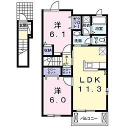 アクティフ神辺C・D[2階]の間取り