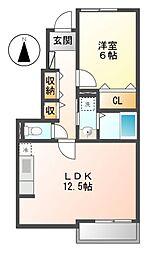 愛知県名古屋市中川区新家3丁目の賃貸アパートの間取り