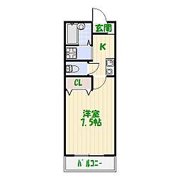 東京都葛飾区柴又7の賃貸アパートの間取り