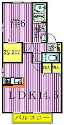 千葉県野田市春日町の賃貸アパートの間取り