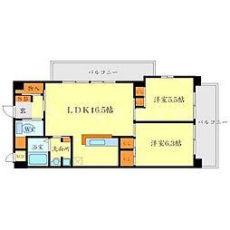 メゾン・ユートピアARAKI 2階2LDKの間取り