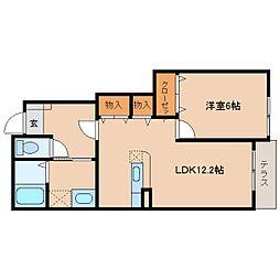 JR和歌山線 五条駅 バス11分 弁天宗御下車 徒歩1分の賃貸アパート 1階1LDKの間取り