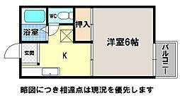 京都府京都市左京区岩倉三宅町の賃貸アパートの間取り