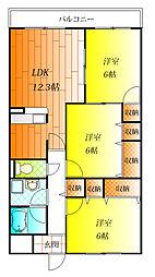 近鉄南大阪線 高鷲駅 徒歩15分の賃貸マンション 4階2SLDKの間取り