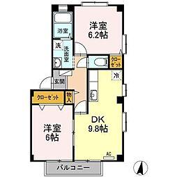 フォブール十三軒屋[2階]の間取り