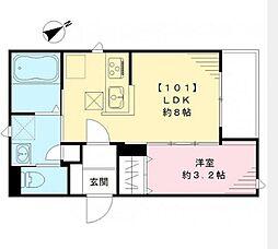 京王線 幡ヶ谷駅 徒歩8分の賃貸アパート 1階1LDKの間取り