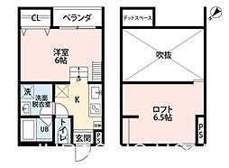 大阪府堺市堺区大浜北町2丁の賃貸アパートの間取り