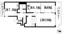 兵庫県宝塚市中山荘園の賃貸マンションの間取り