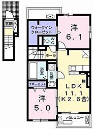 JR青梅線 小作駅 バス12分 四谷橋下車 徒歩3分の賃貸アパート 2階2LDKの間取り