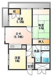 フラワーマンション[5階]の間取り