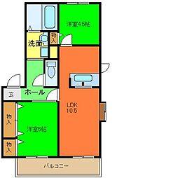 ツインハイツA棟[1階]の間取り