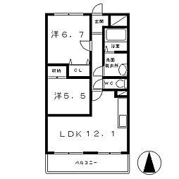 滋賀県栗東市川辺の賃貸マンションの間取り