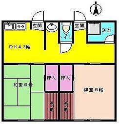 南荘 2号棟[2-2号室]の間取り