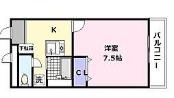 大阪府松原市上田8丁目の賃貸アパートの間取り