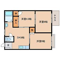 静岡県静岡市清水区横砂本町の賃貸アパートの間取り