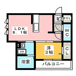 仮)D-room加納東広江町 1階1LDKの間取り