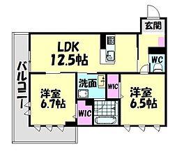 南海線 高石駅 徒歩14分の賃貸アパート 2階2LDKの間取り