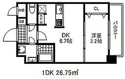 ソアシンナガタ 8階1DKの間取り