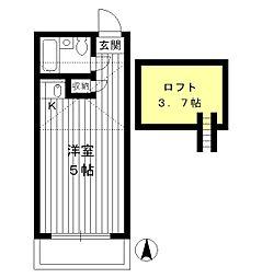 東京都新宿区西落合2丁目の賃貸アパートの間取り