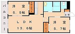 ボヌール新宮[1階]の間取り