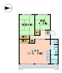 水草団地 3号棟[3階]の間取り